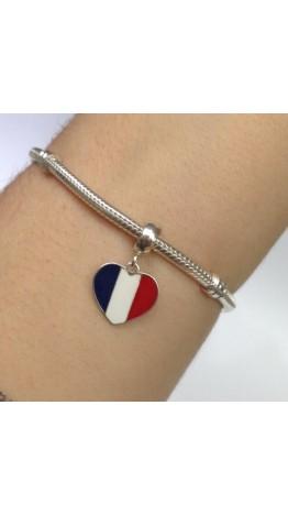 PG-176 Pingente In love França Prata/Esmalte