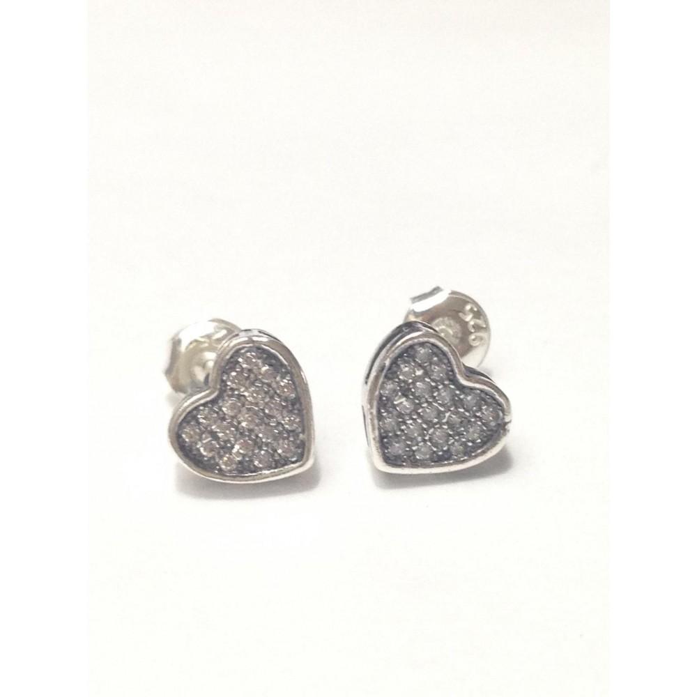 Br-20 Brincos Coração em Prata e Zirconias Brancas