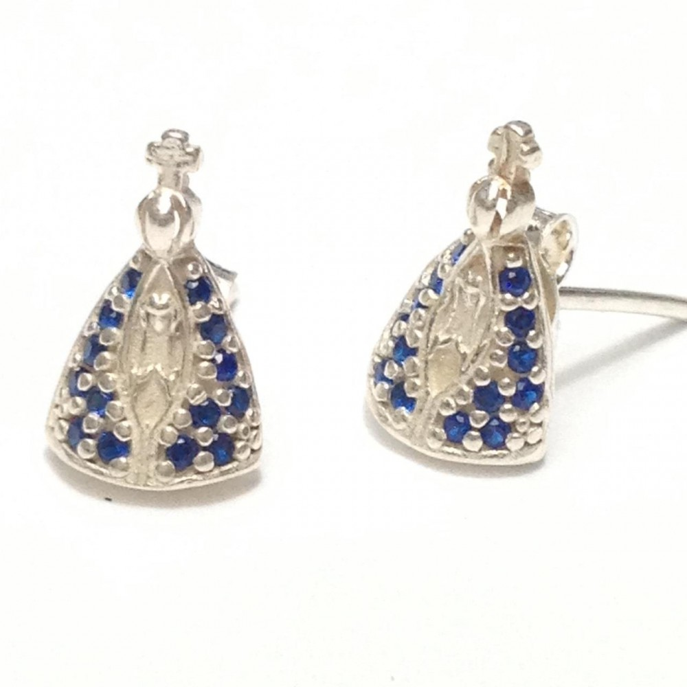 Br-75 Brincos N.S Aparecida em prata 925 e Zirconias azuis