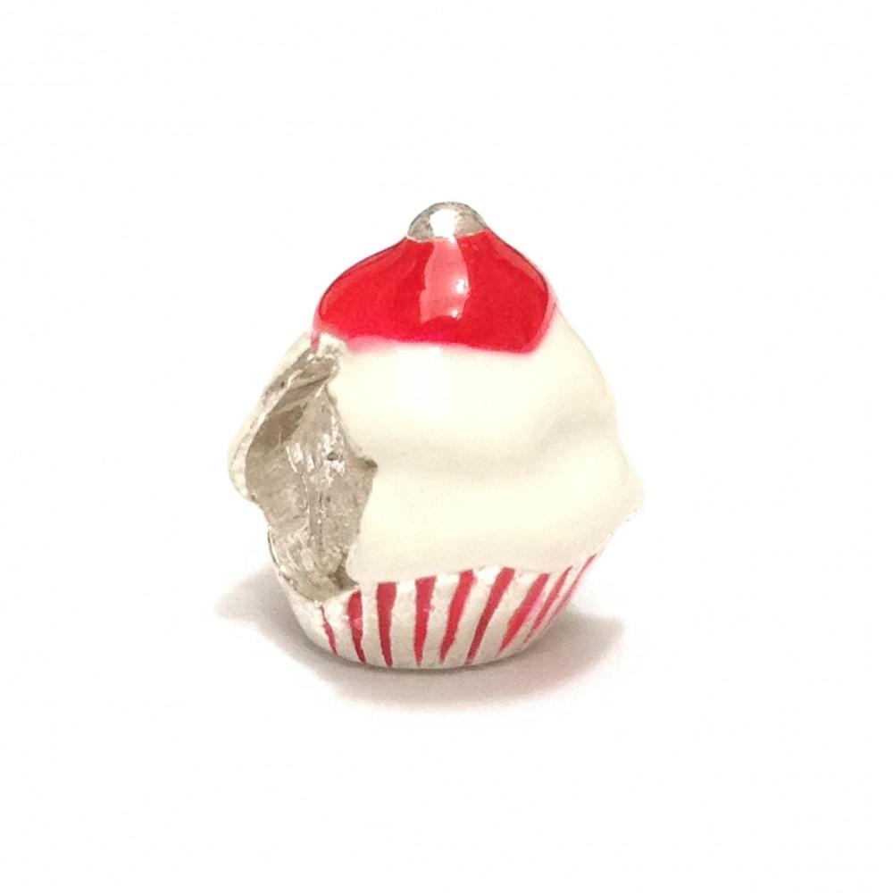 Berloque Cupcake Em Prata 925 E Esmalte