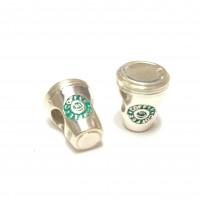 BE-355 Berloque Café Starbucks Prata 925 e Esmalte
