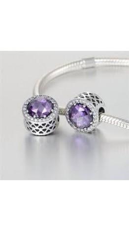 Berloque Luxuosa Violeta em Prata 925 3 Zircônia