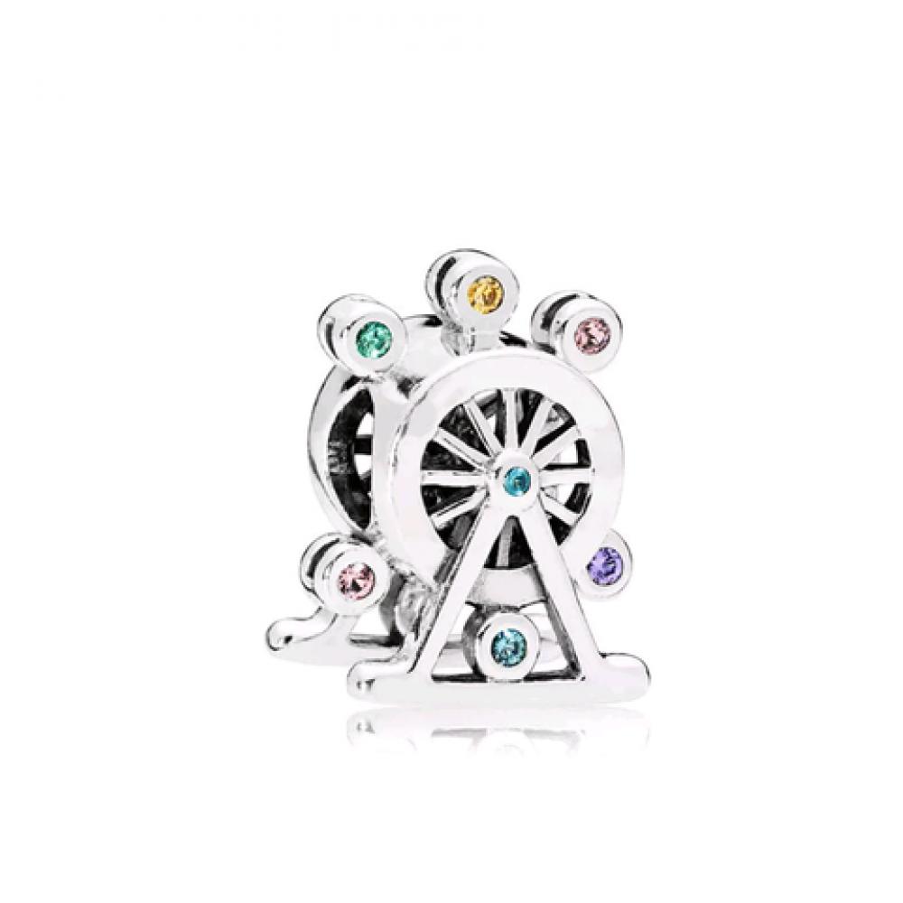 Berloque Roda Gigante Prata 925 e Zirconias Coloridas