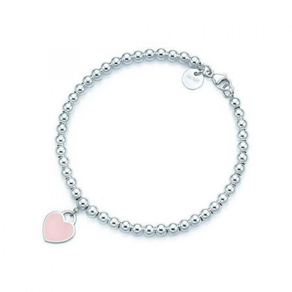 Pulseira Coração Rosa em Prata 925