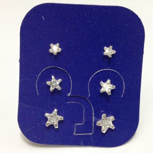 Brincos Trio de Estrelas em Pra e Zirconias