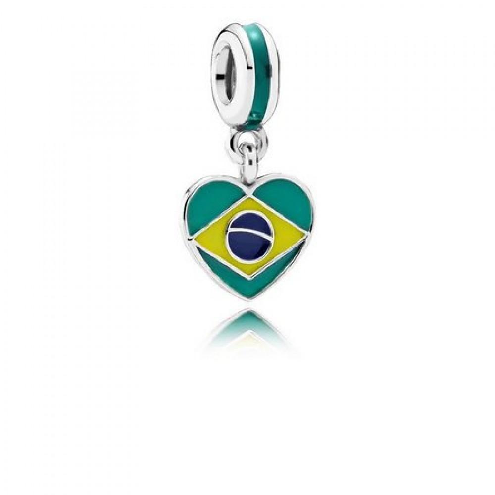 PG-65 Pingente Brasil Prata 925 e Esmalte