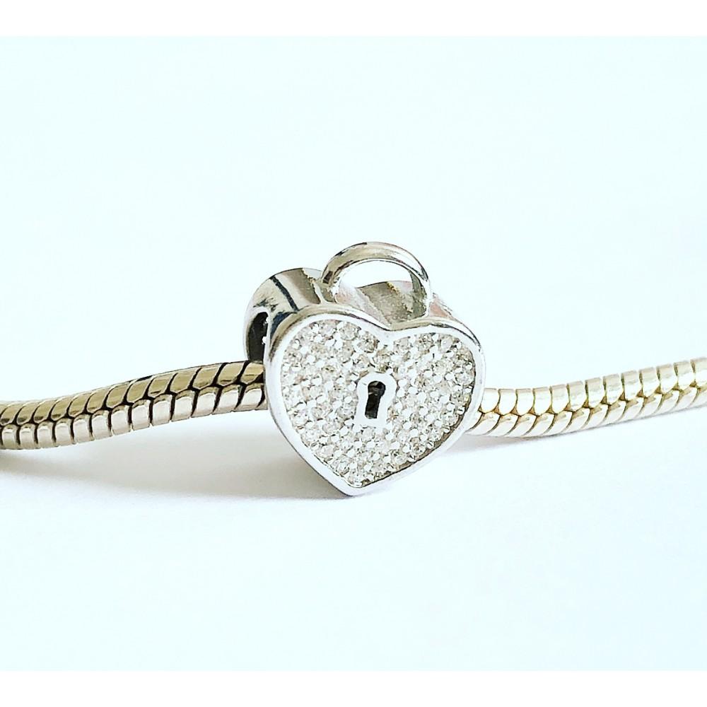BE-87 Berloque Coração Cadeado Prata e Zirconias Brancas