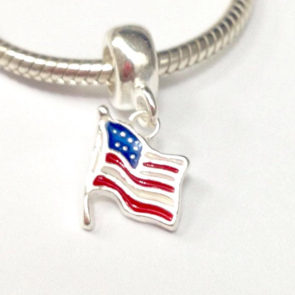 Pingente Bandeira dos Estados Unidos Prata/Esmalte