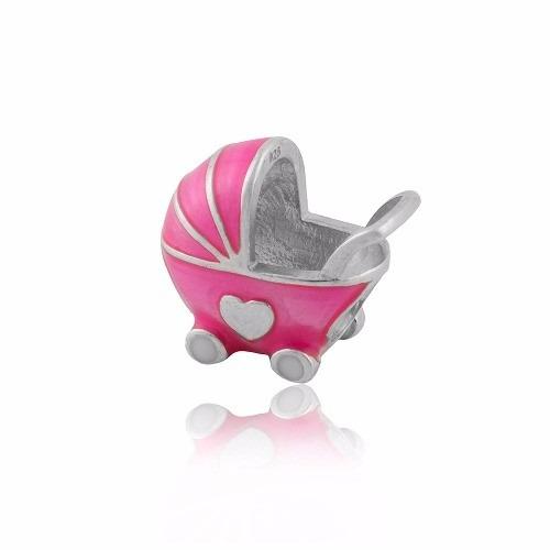 Berloque Carrinho de Bebê Meu Mundo Rosa
