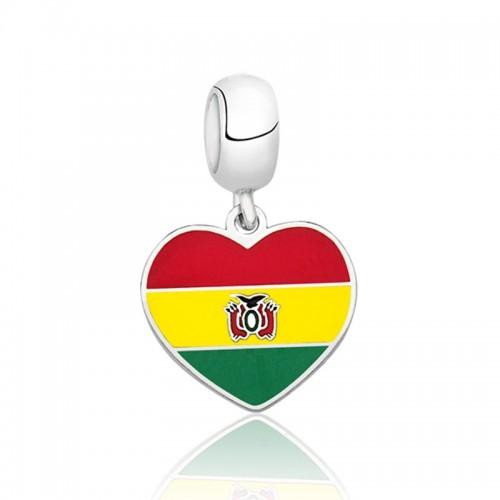 PG-156 Pingente I Love Bolívia em Prata e Esmalte