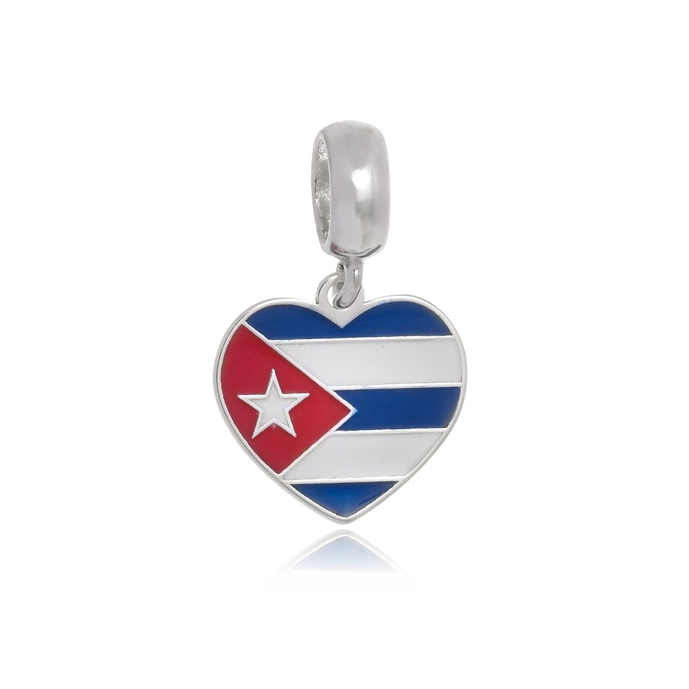 PG-157 Pingente I Love Cuba em Prata e Esmalte