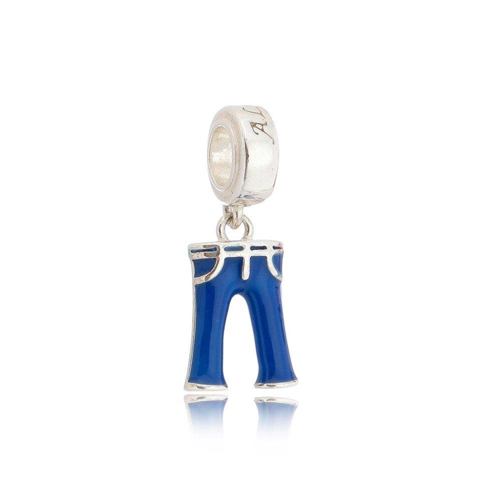 PG-71 Pingente Calça Jeans em Prata e Esmalte