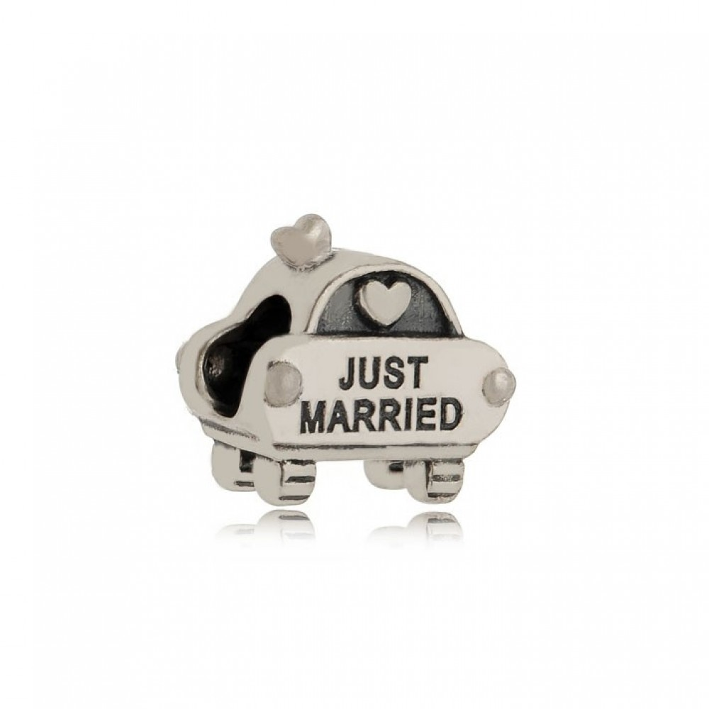 BE-284 Berloque Recém Casados / noivos  em Prata