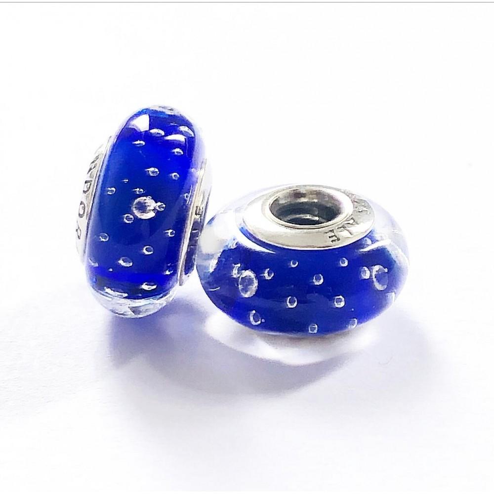 MU-02 Murano Azul /Gotas do Mar Prata 925 Vidro