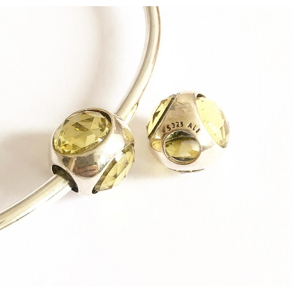 Berloque / Separador Flor amarela em Prata 925