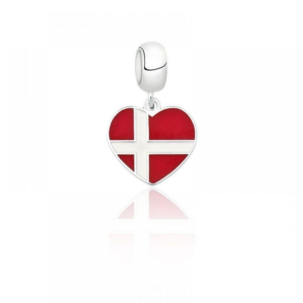 Pingente I Love Dinamarca em Prata e Esmalte