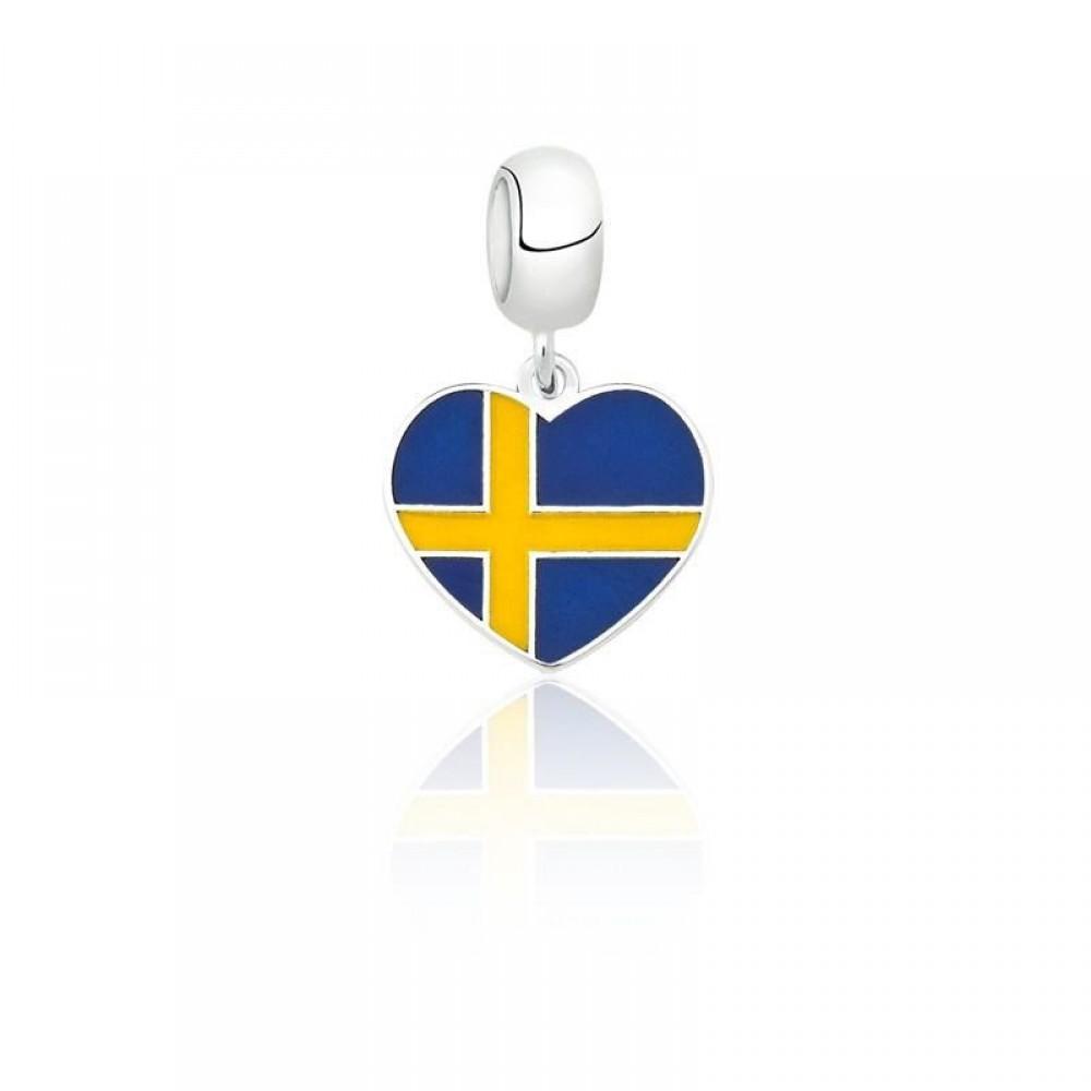 PG-167 Pingente I Love Suécia em Prata e Esmalte