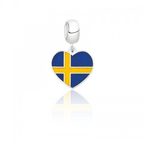 Pingente I Love Suécia em Prata e Esmalte