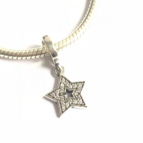 PG-121 Pingente Estrela Cravejada Zirconias Brancas