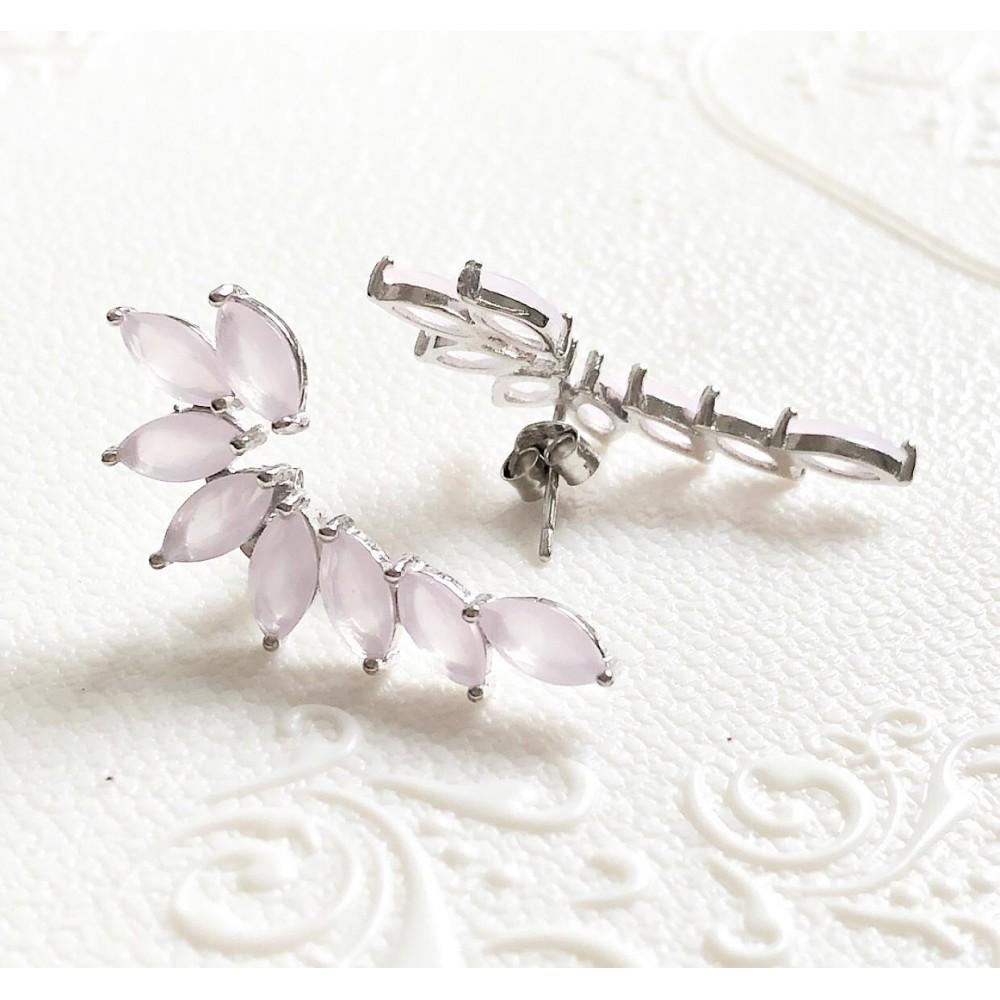 Br-33 Brincos Ear Cuff em Prata e Pedra zirconias Rosa Claro.