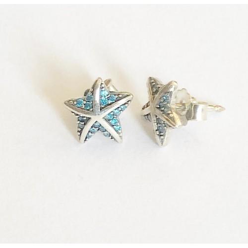 Brincos Estrela do Mar Prata 925 e Zirconias Azuis