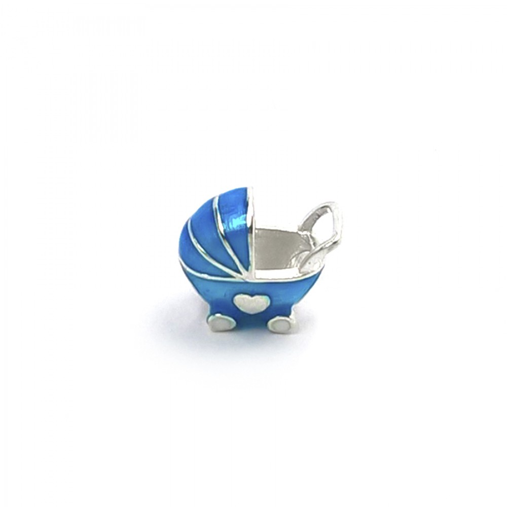 Berloque Carrinho  de Bebê meu mundo Azul.