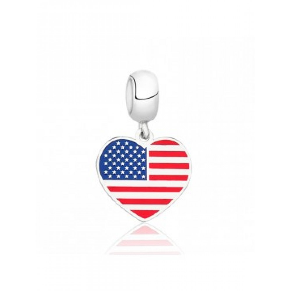 PG-160 Pingente I Love Estados Unidos em Prata e Esmalte