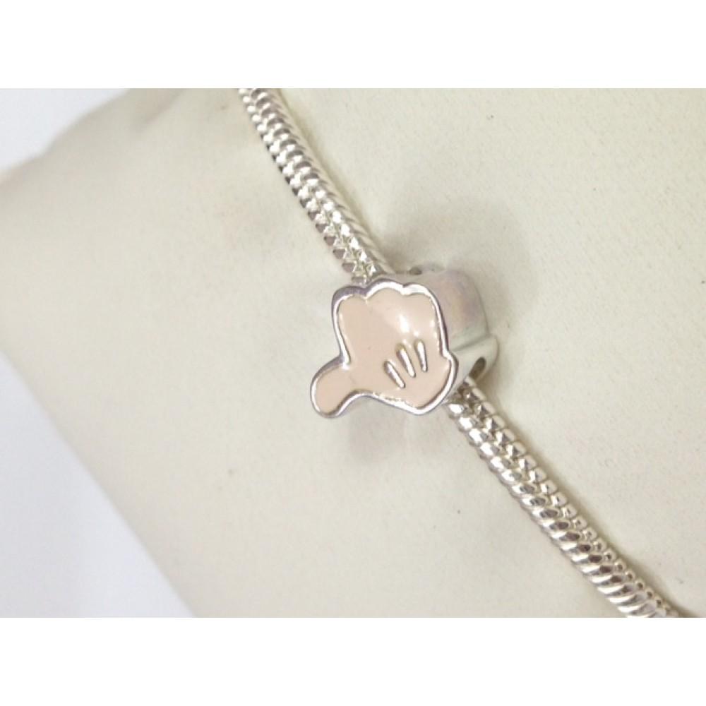Berloque Luvas /Mouse  em Prata 925 e Esmalte Rosa