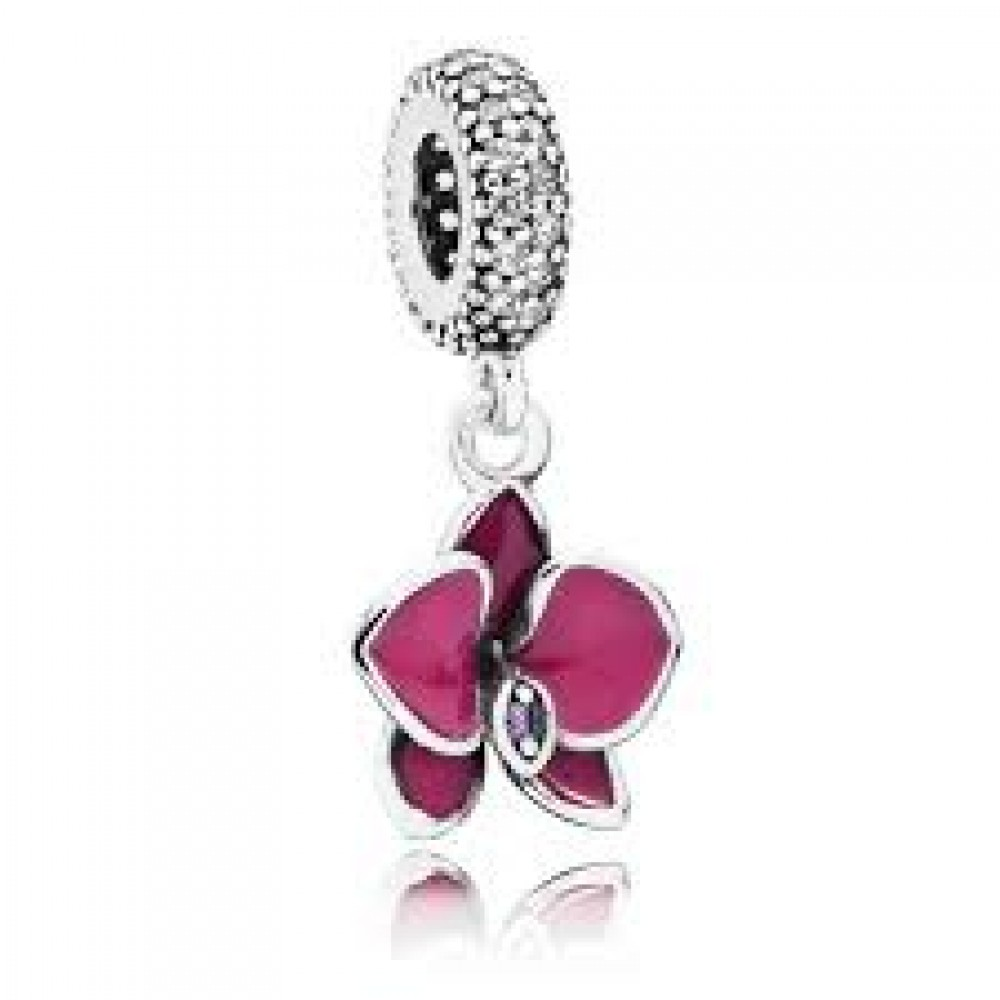 PG-275 Pingente Orquídea Rosa e Prata 925 Esmalte e Zircônias Brancas