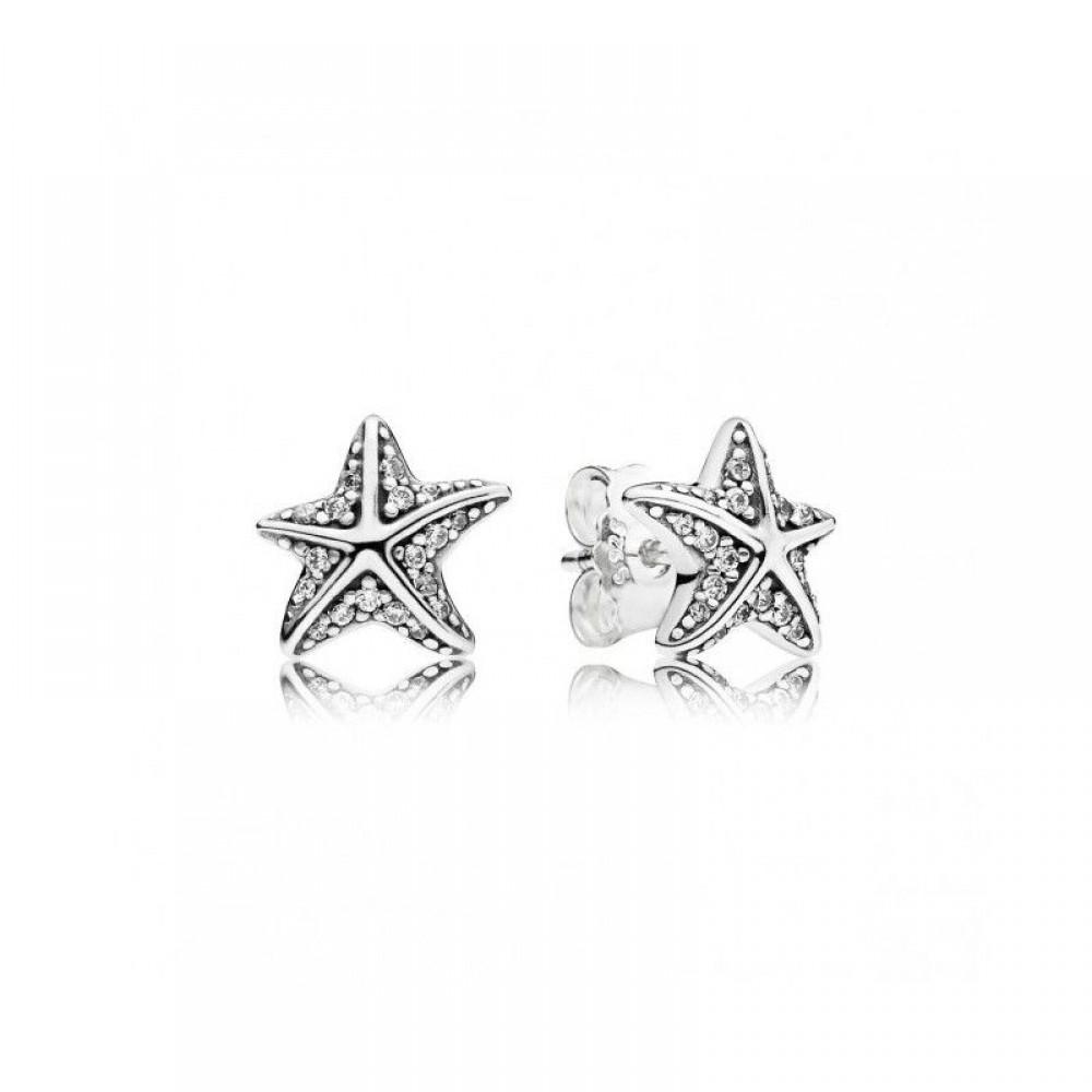 Br-45 Brincos Estrelas Dos Oceanos em Prata e Zirconias