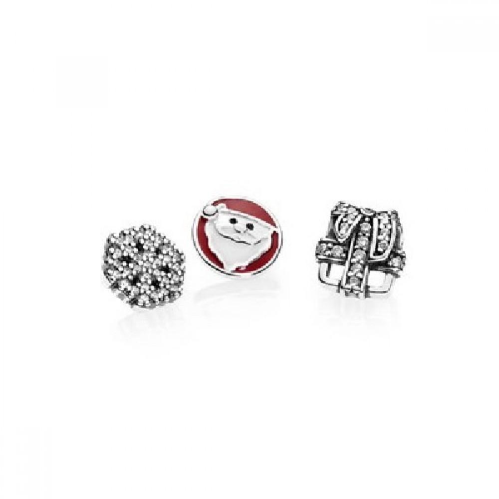 Trio Mini Charms Natal ( para Cápsula) Prata 925