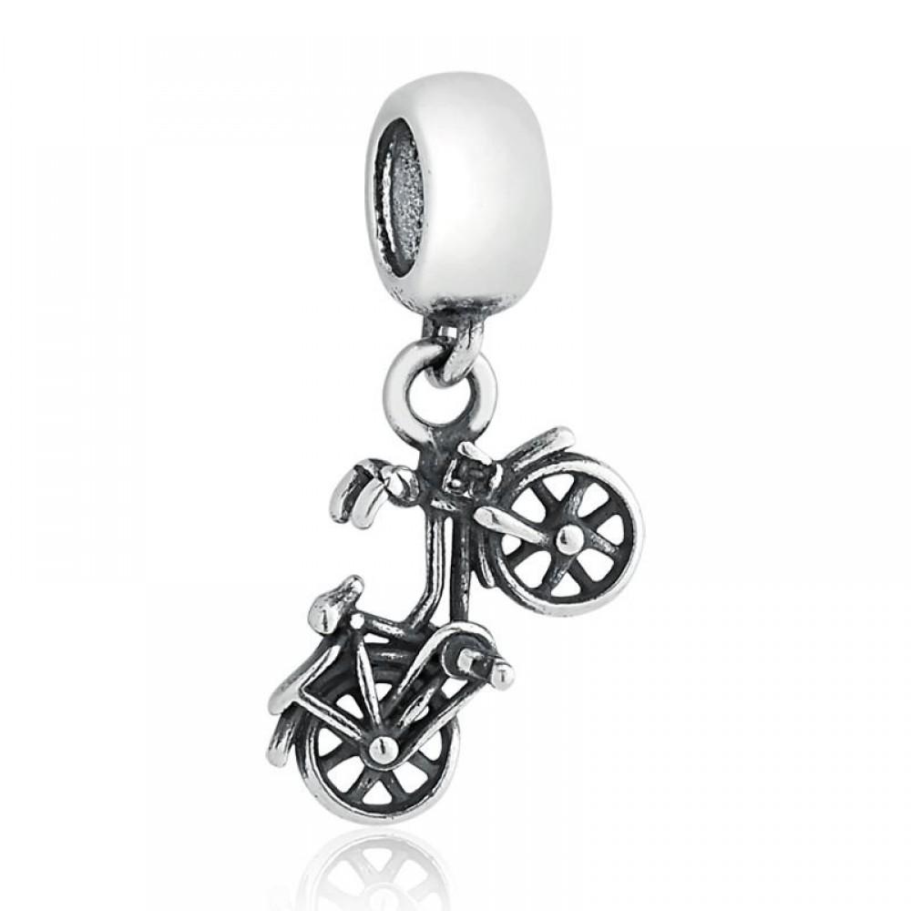 Pingente Bicicleta Vintage em Prata e Zirconias