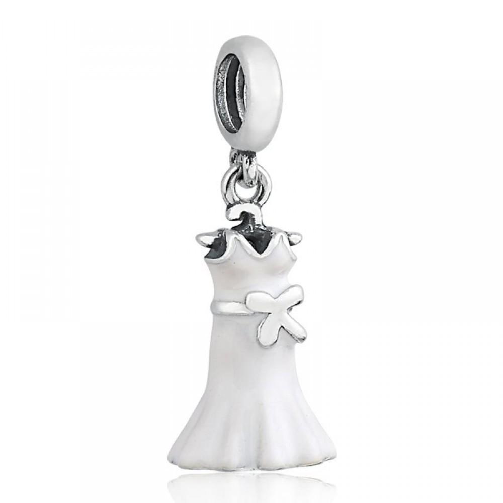 Pingente Vestido de Noiva/Branco Esmalte