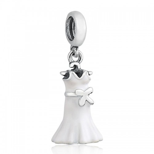 PG-357 Pingente Vestido de Noiva/Branco Esmalte