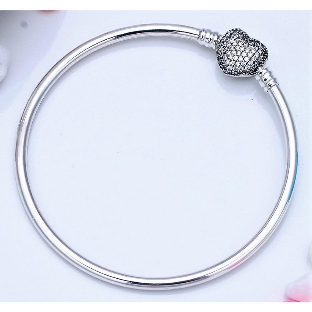 Bracelet Coração Cravejado Prata 925