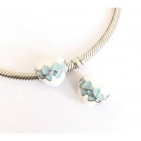 Berloque Coração Laço Azul Prata 925 e Esmalte