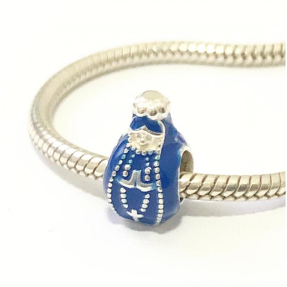 BE-264 Berloque Nossa senhora Aparecida Prata 925 Azul/Esmalte