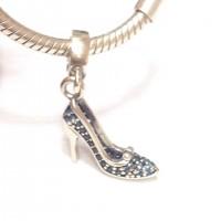 PG-322 Pingente Sapato Cristal Glamour em Prata e Zirconias Azuis.