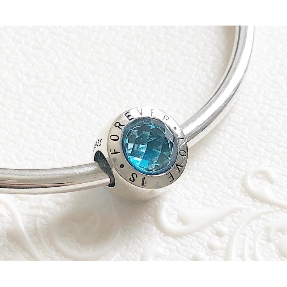 BE-219 Berloque Love Forever em Prata 925 Zirconia Azul