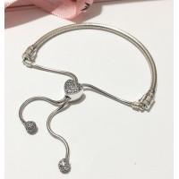 Bracelet ajustavel Coração Pavê Prata 925 & Zirconias