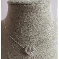 Gargantilha Ns.Sn. Aparecida /Coração Prata 925 zirconias