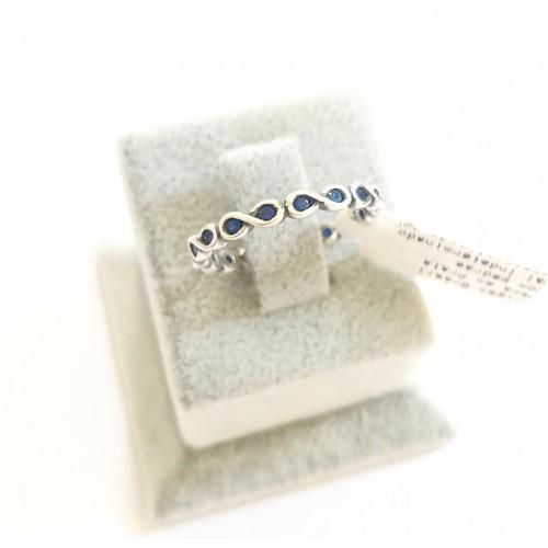 A-05 Anel  Infinito em Prata 925 Zirconias Azul