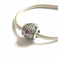 BE-287 Berloque Rosa Vintage em Prata e Zirconias