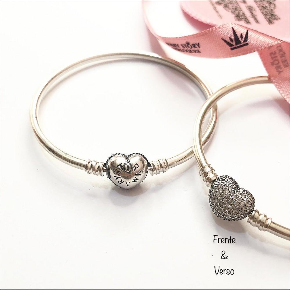 BT-04 Bracelet Coração Cravejado Prata 925