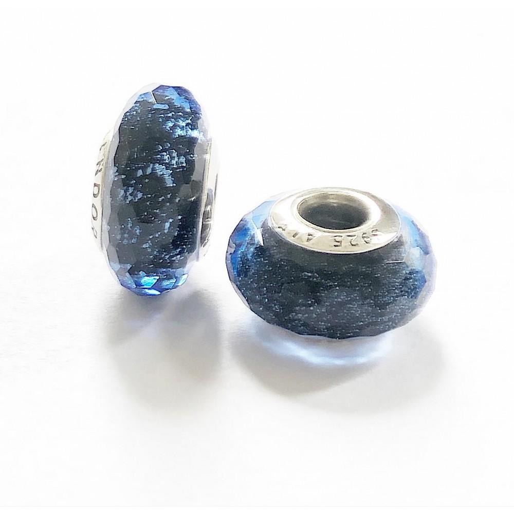 MU-12 Murano Facetado Azul Marinho Prata e Vidro