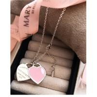 Gargantilha 2 corações Rosa tf em Prata 925