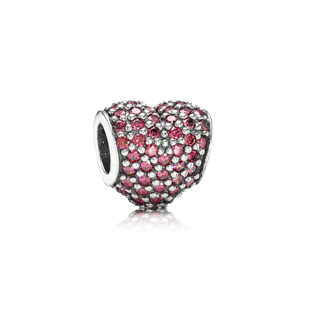 BE-91 Berloque Coração Cravejado Zirconias Vermelhas Prata