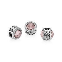 Berloque Luxuosa Flor Rosa em Prata e Zirconias