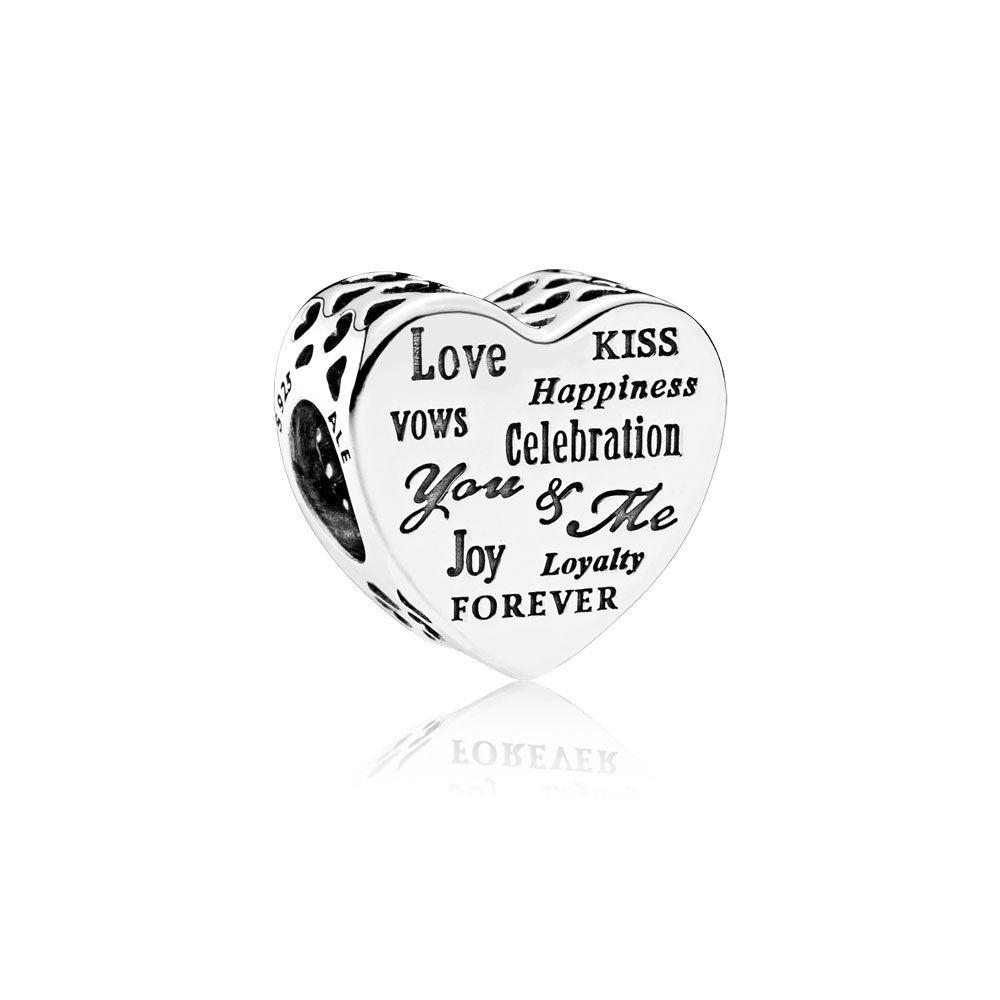 BE-42 Berloque Beijo, Amor, Para Sempre em Prata 925