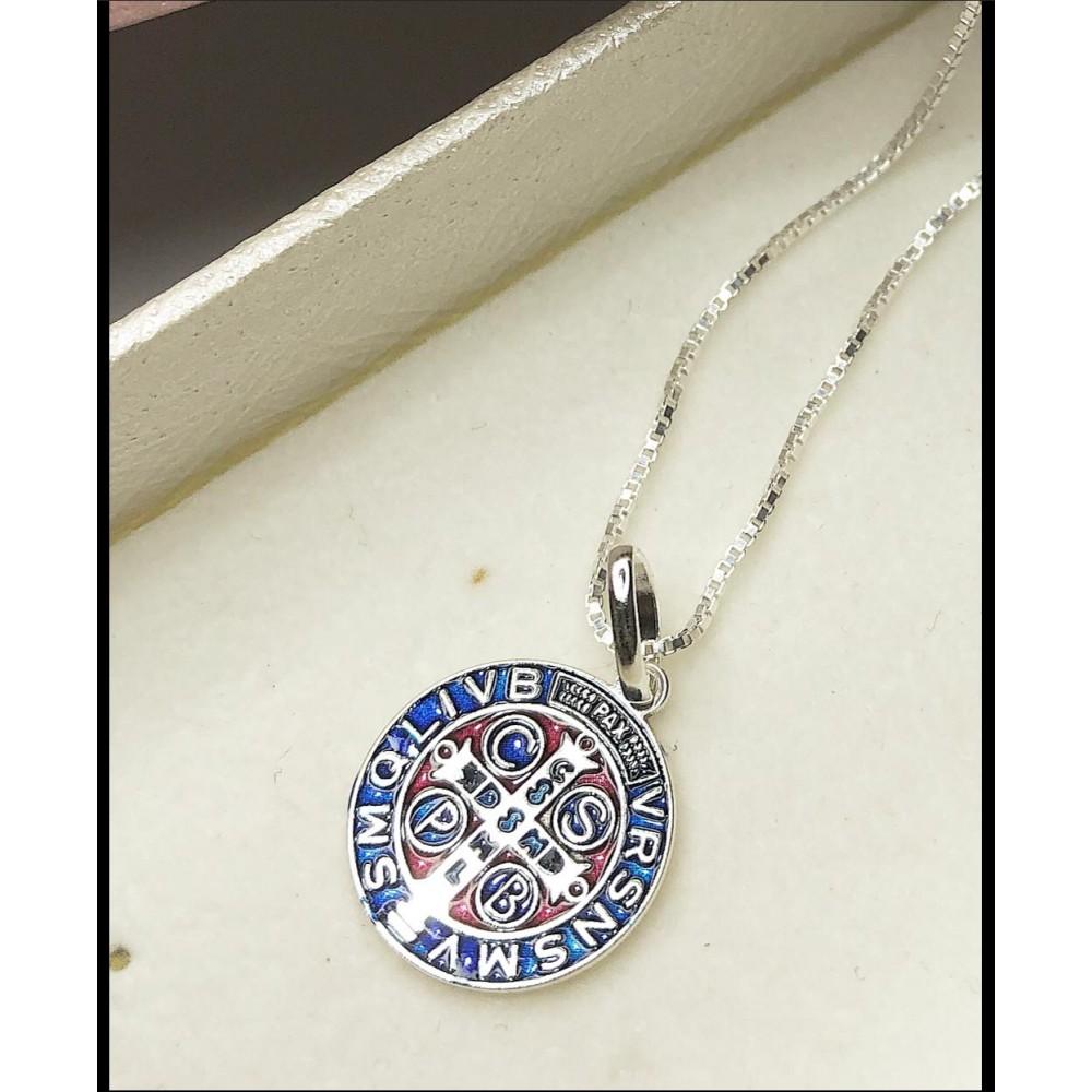 Gargantilha Cruz de São Bento Prata 925